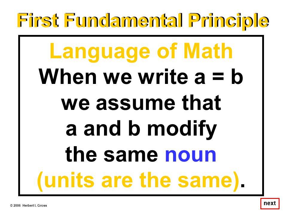 First Fundamental Principle