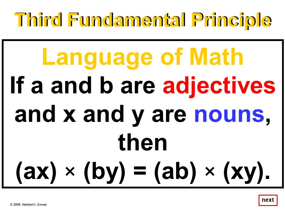 Language of Math If a and b are adjectives and x and y are nouns, then