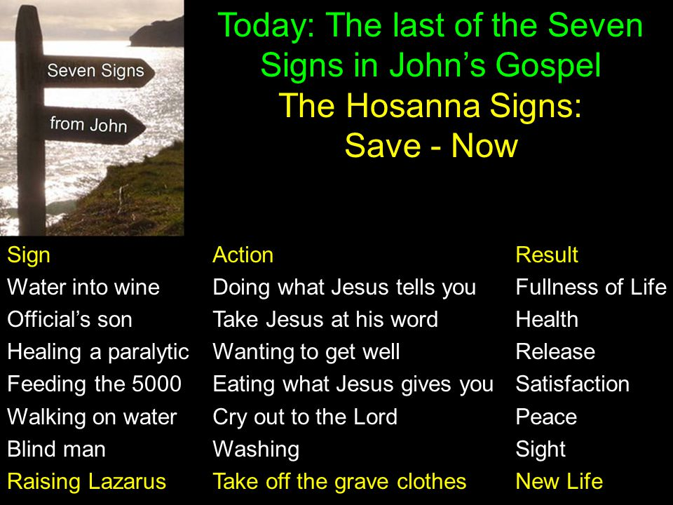 Today: The last of the Seven Signs in John's Gospel