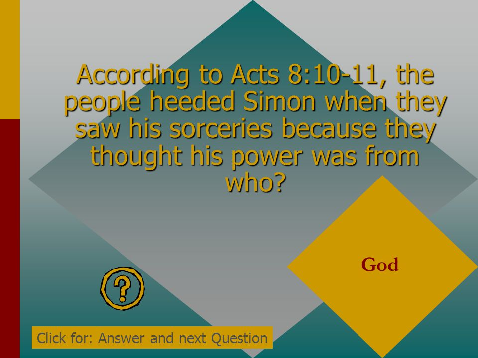 According to Acts 8:10-11, the people heeded Simon when they saw his sorceries because they thought his power was from who