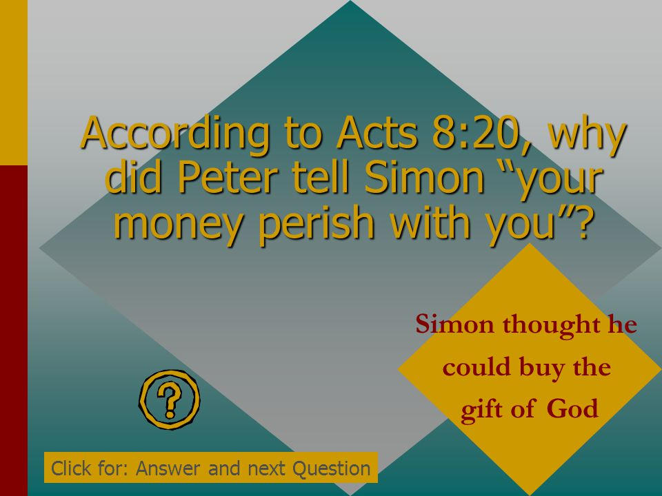 According to Acts 8:20, why did Peter tell Simon your money perish with you