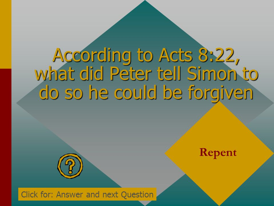 According to Acts 8:22, what did Peter tell Simon to do so he could be forgiven