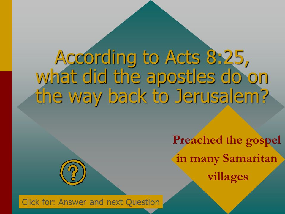 According to Acts 8:25, what did the apostles do on the way back to Jerusalem