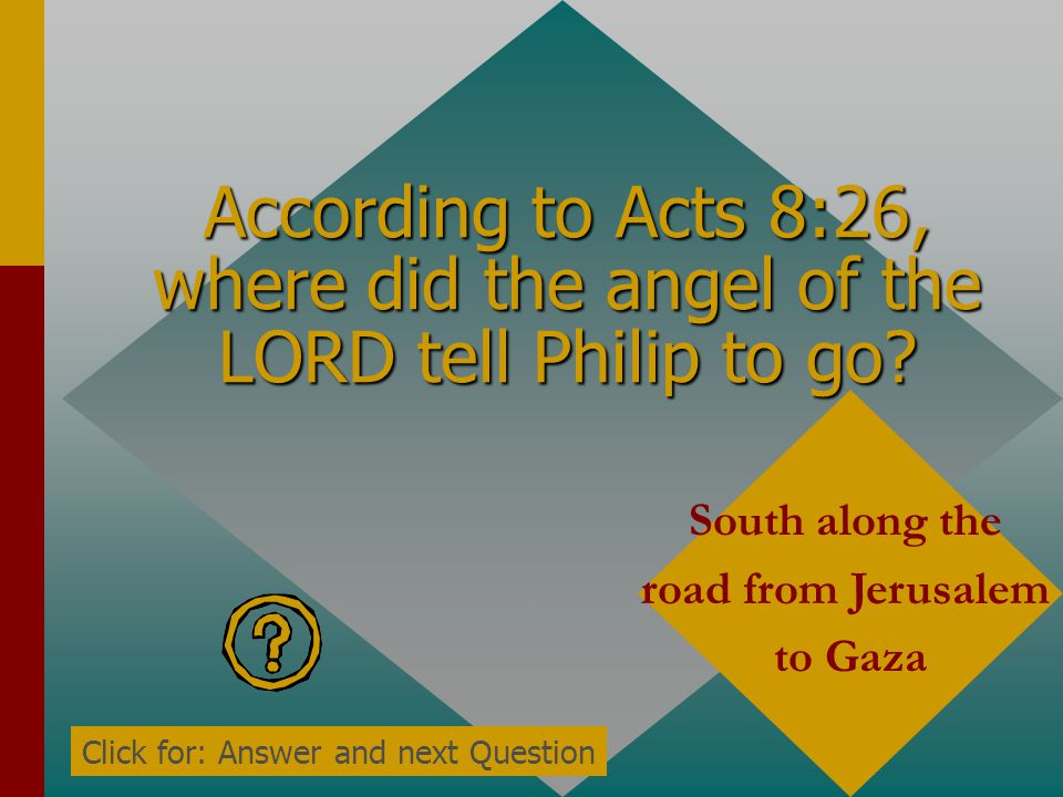 According to Acts 8:26, where did the angel of the LORD tell Philip to go