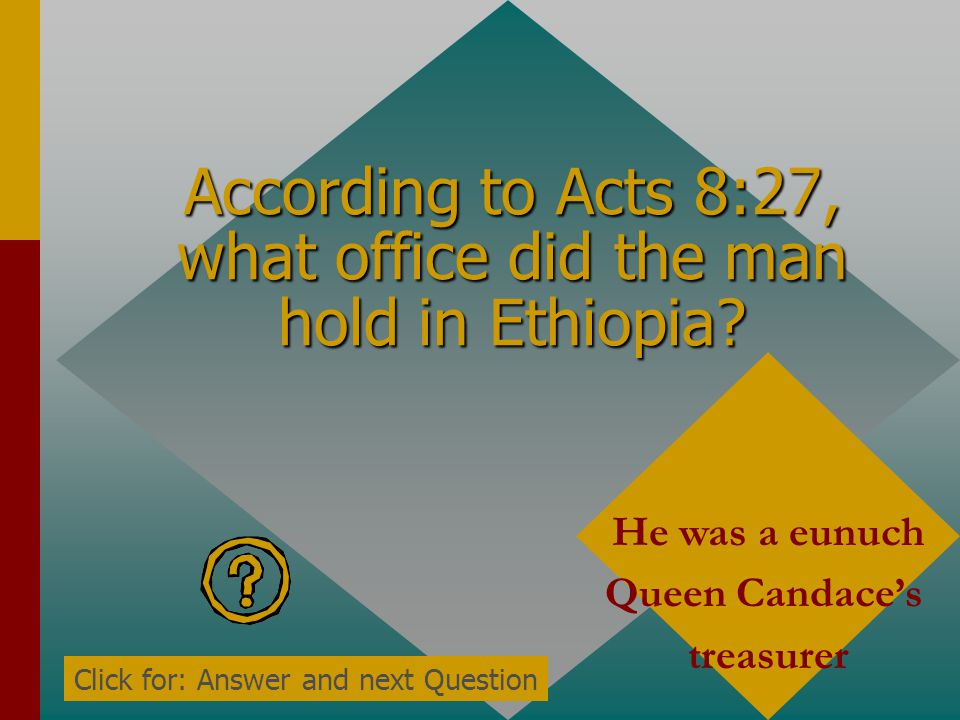 According to Acts 8:27, what office did the man hold in Ethiopia