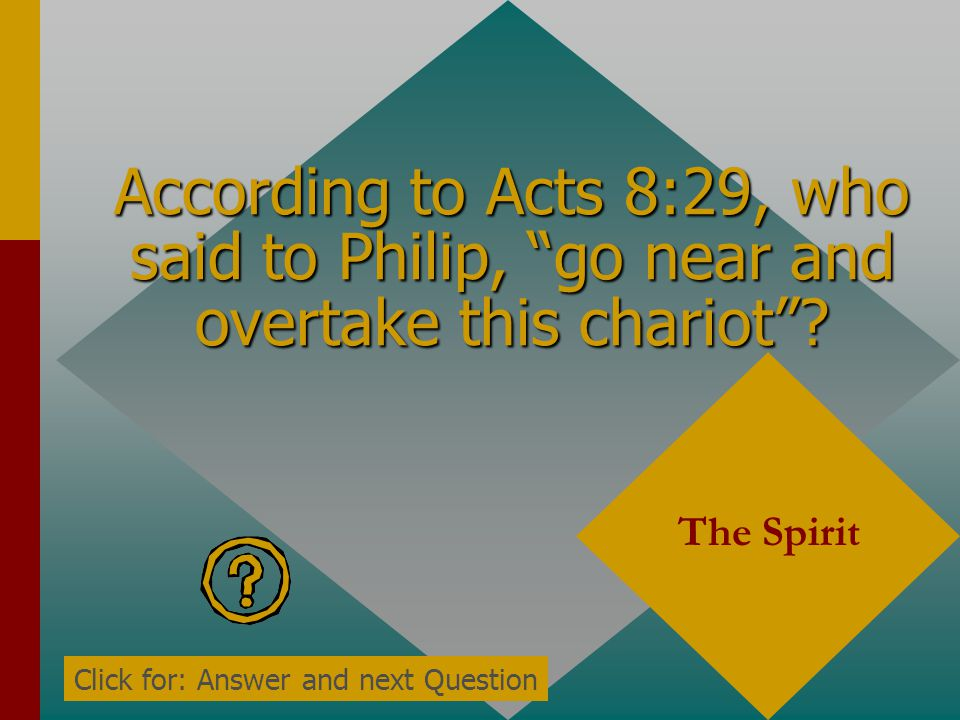 According to Acts 8:29, who said to Philip, go near and overtake this chariot