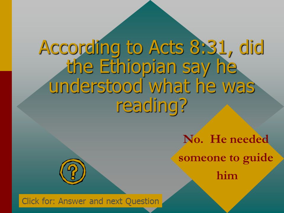 According to Acts 8:31, did the Ethiopian say he understood what he was reading