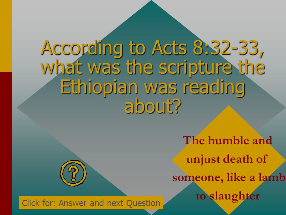 According to Acts 8:32-33, what was the scripture the Ethiopian was reading about