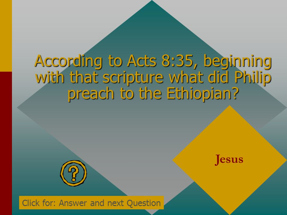 According to Acts 8:35, beginning with that scripture what did Philip preach to the Ethiopian