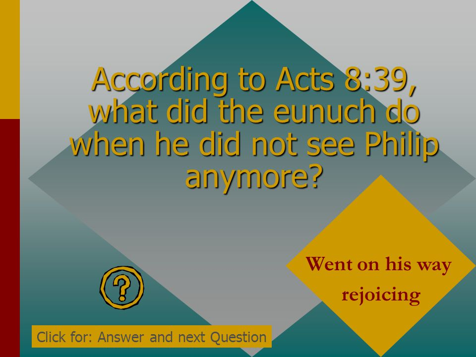 According to Acts 8:39, what did the eunuch do when he did not see Philip anymore