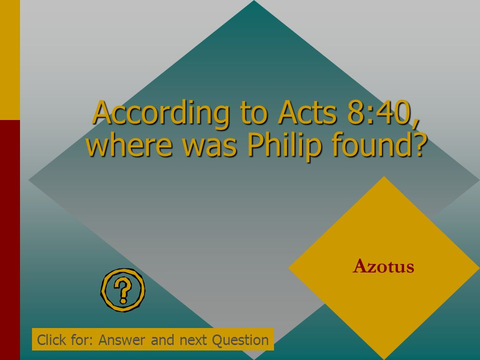 According to Acts 8:40, where was Philip found