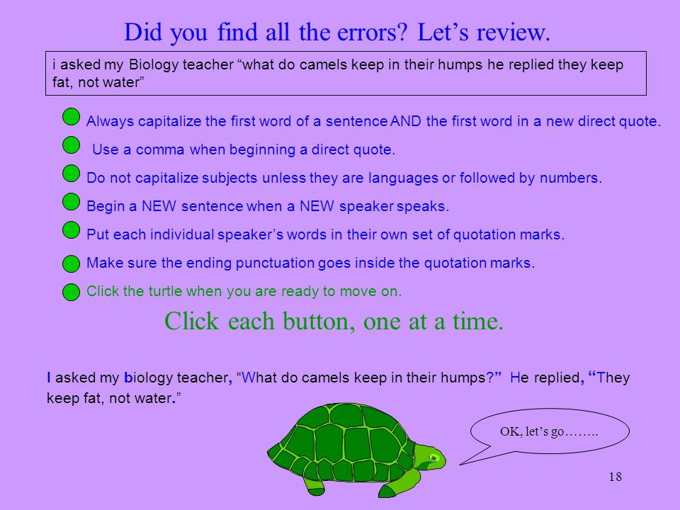 Did you find all the errors Let's review.
