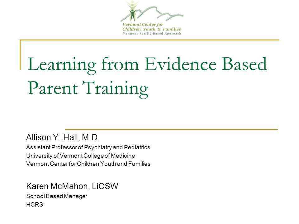 Learning from Evidence Based Parent Training