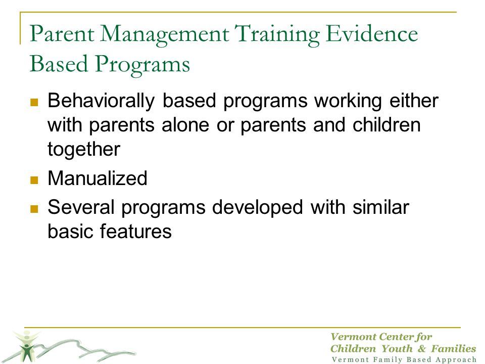 Parent Management Training Evidence Based Programs