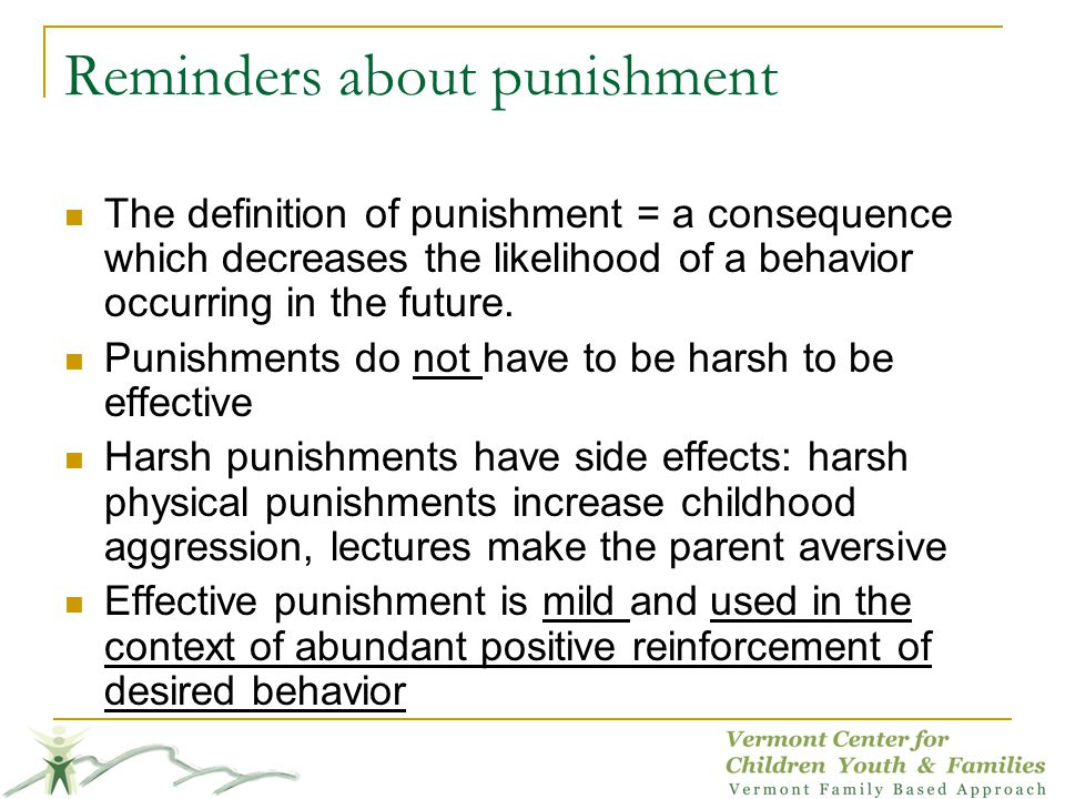 Reminders about punishment