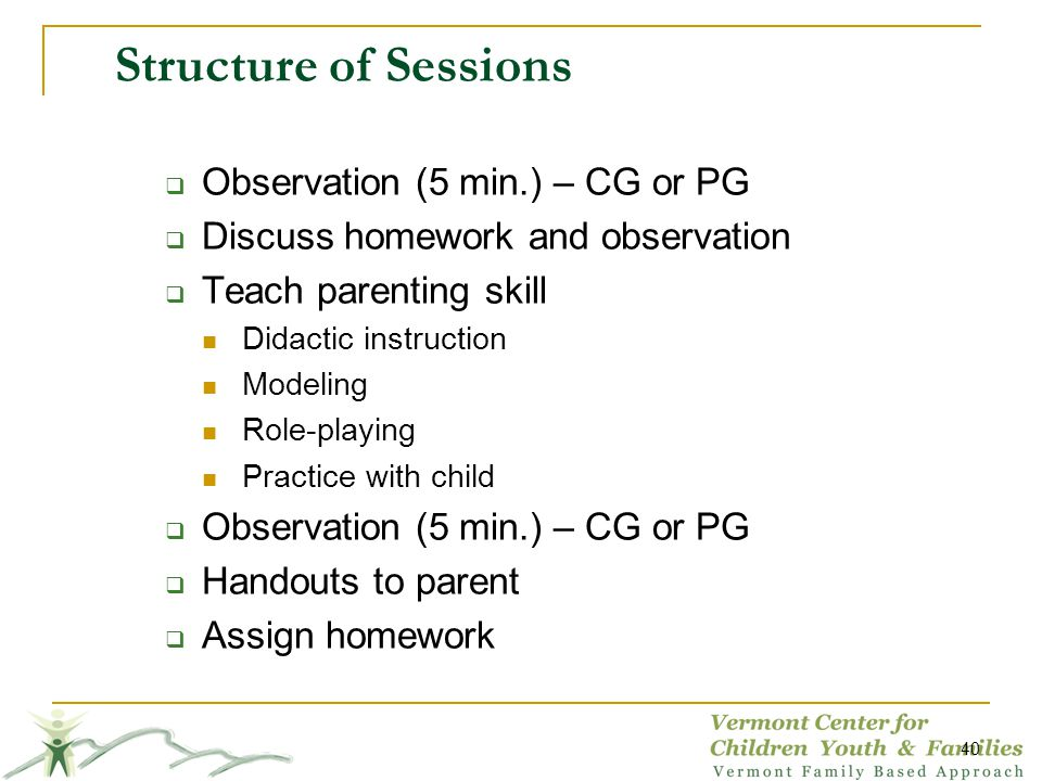 Structure of Sessions Observation (5 min.) – CG or PG