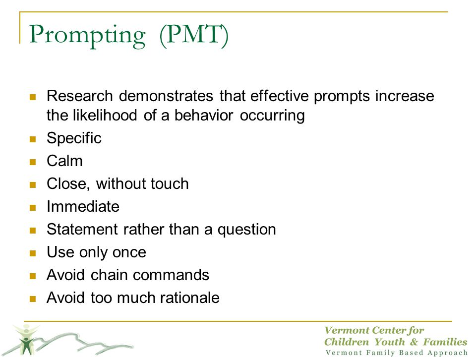 Prompting (PMT) Research demonstrates that effective prompts increase the likelihood of a behavior occurring.
