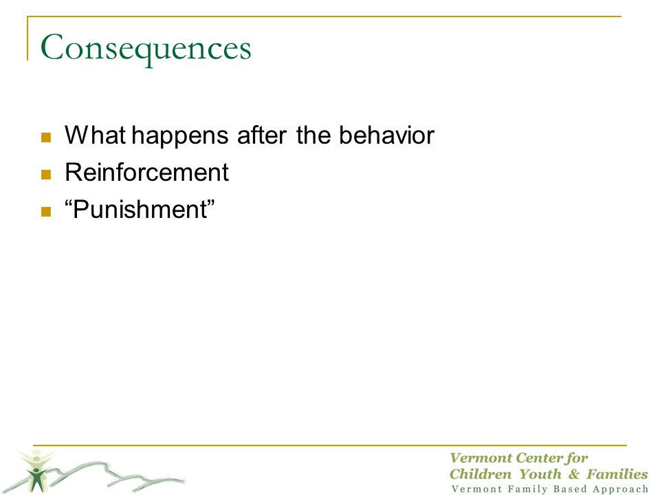 Consequences What happens after the behavior Reinforcement