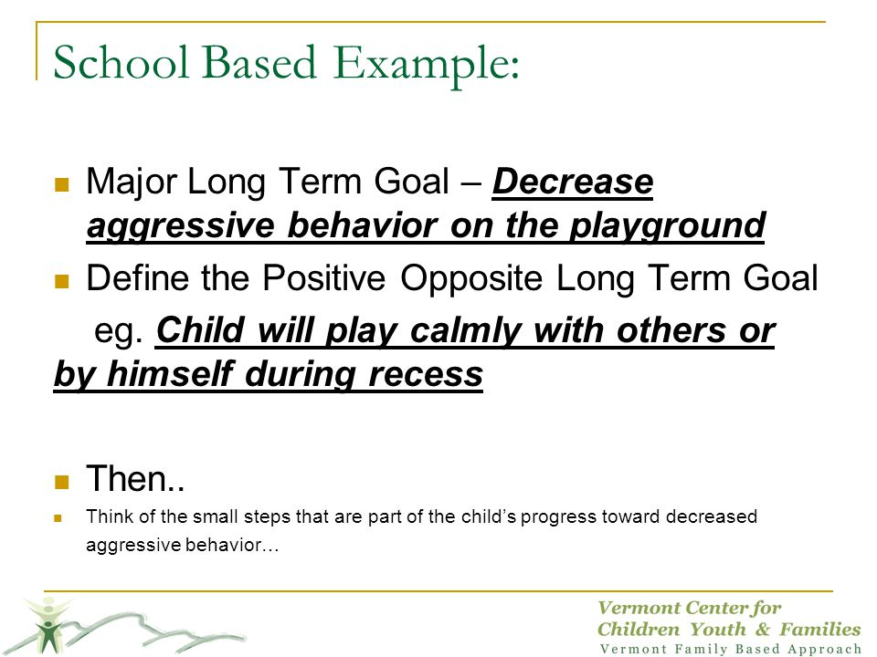 School Based Example: Major Long Term Goal – Decrease aggressive behavior on the playground. Define the Positive Opposite Long Term Goal.