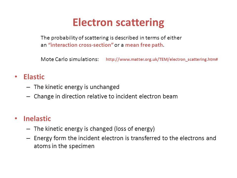 Electron scattering Elastic Inelastic The kinetic energy is unchanged