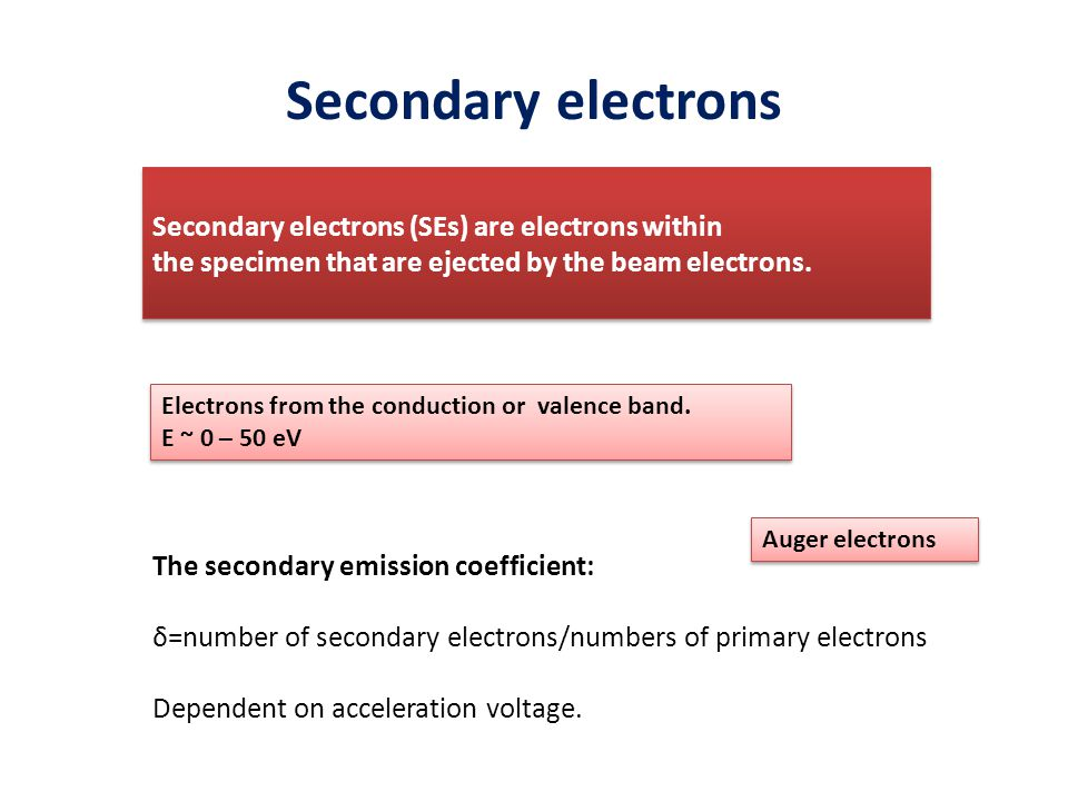 Secondary electrons Secondary electrons (SEs) are electrons within