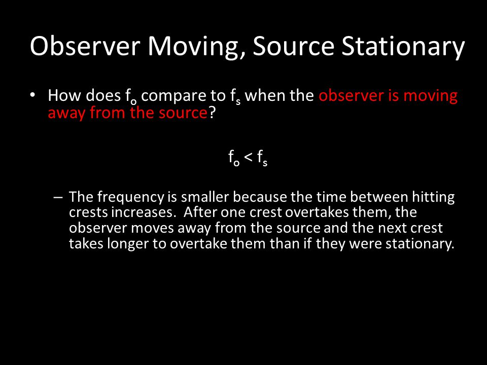 Observer Moving, Source Stationary