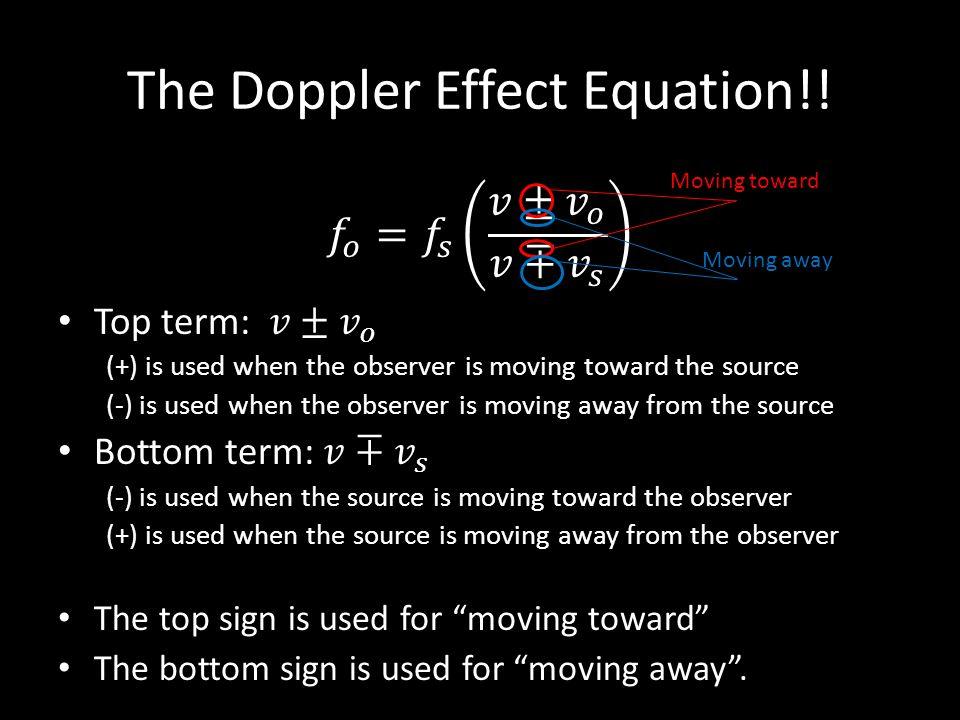 The Doppler Effect Equation!!