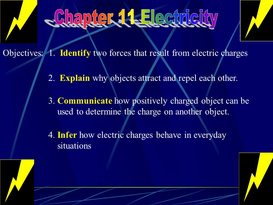 Chapter 11 Electricity Objectives: 1. Identify two forces that result from electric charges. 2. Explain why objects attract and repel each other.
