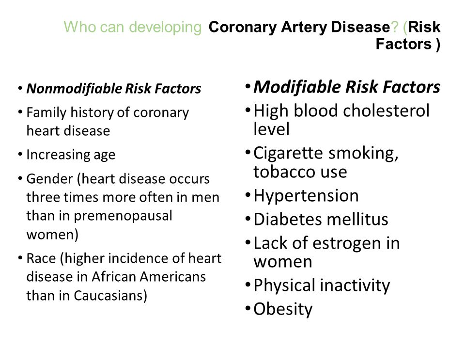 Who can developing Coronary Artery Disease (Risk Factors )