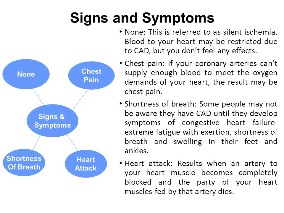 Signs and Symptoms None: This is referred to as silent ischemia. Blood to your heart may be restricted due to CAD, but you don't feel any effects.