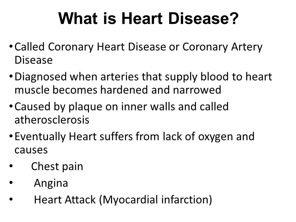 What is Heart Disease Called Coronary Heart Disease or Coronary Artery Disease.