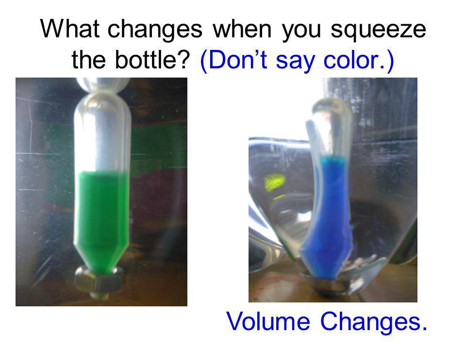 What changes when you squeeze the bottle (Don't say color.)