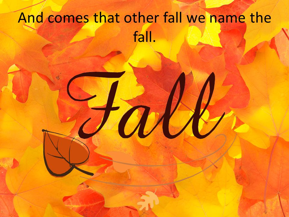And comes that other fall we name the fall.