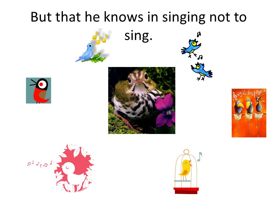 But that he knows in singing not to sing.
