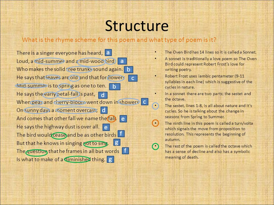 Structure What is the rhyme scheme for this poem and what type of poem is it
