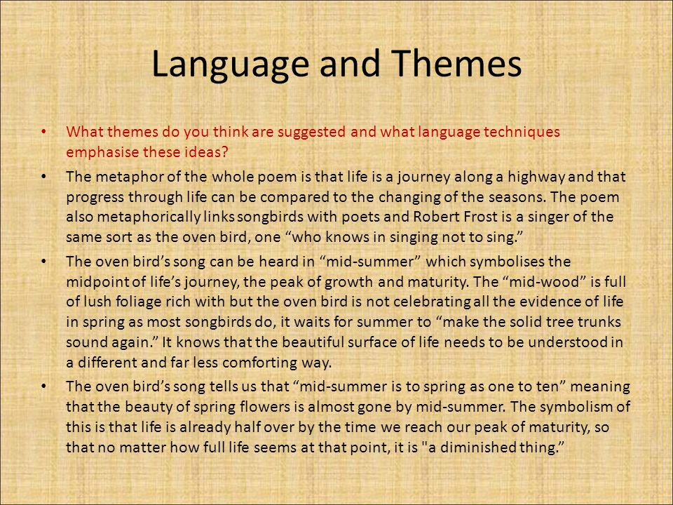 Language and Themes What themes do you think are suggested and what language techniques emphasise these ideas