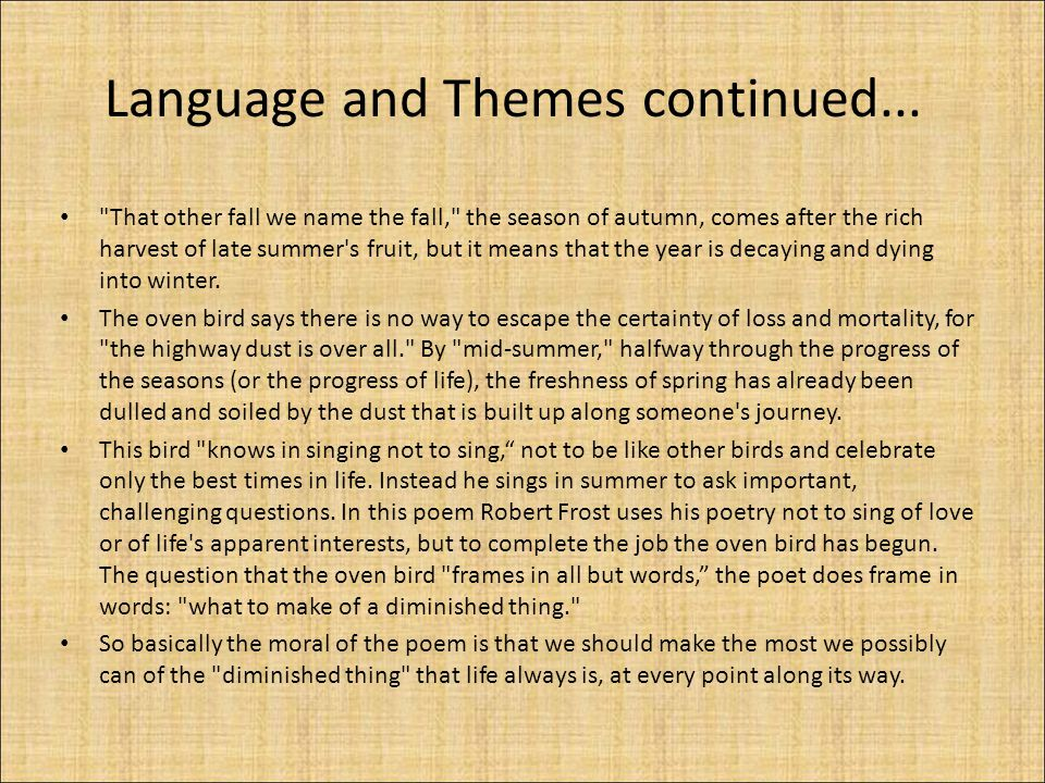 Language and Themes continued...