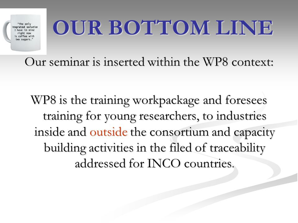 Our seminar is inserted within the WP8 context: