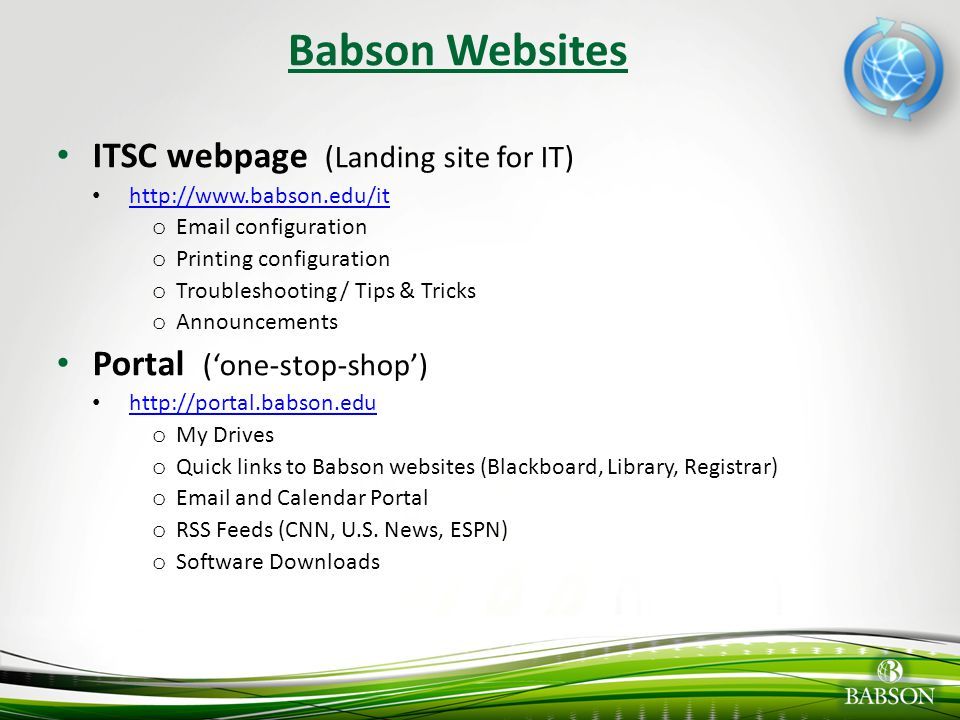 Babson Websites ITSC webpage (Landing site for IT)