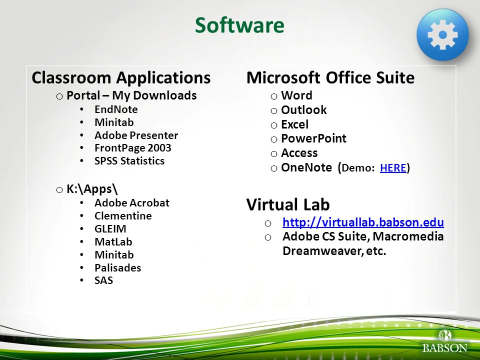 Software Classroom Applications Microsoft Office Suite Virtual Lab