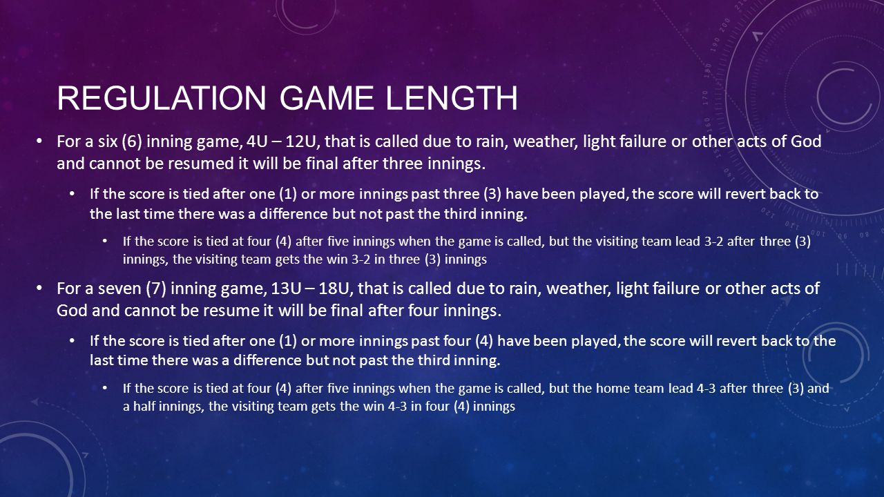Regulation Game Length