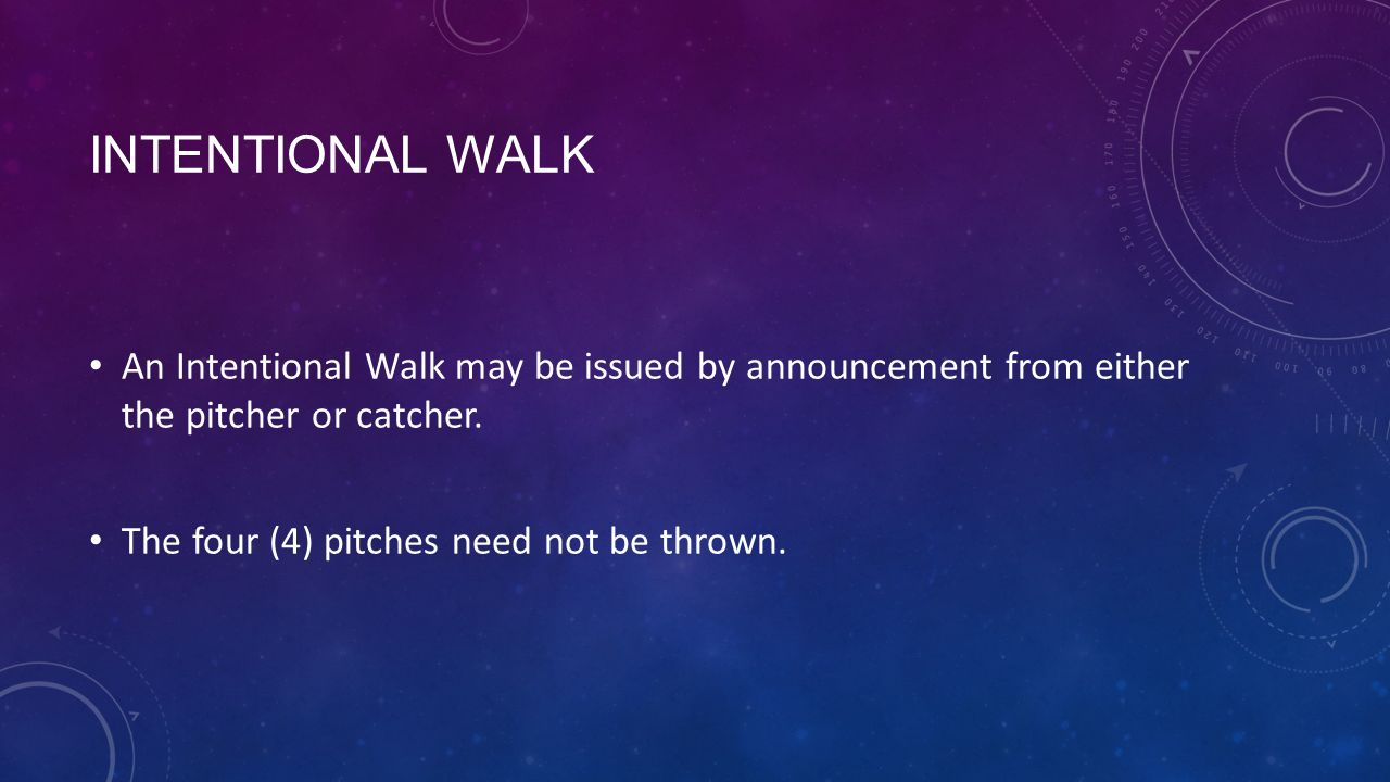 Intentional Walk An Intentional Walk may be issued by announcement from either the pitcher or catcher.