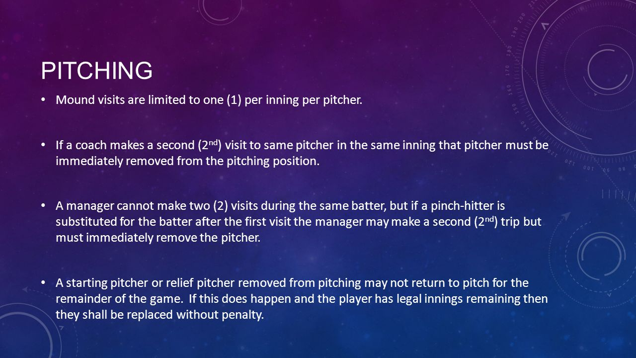 Pitching Mound visits are limited to one (1) per inning per pitcher.