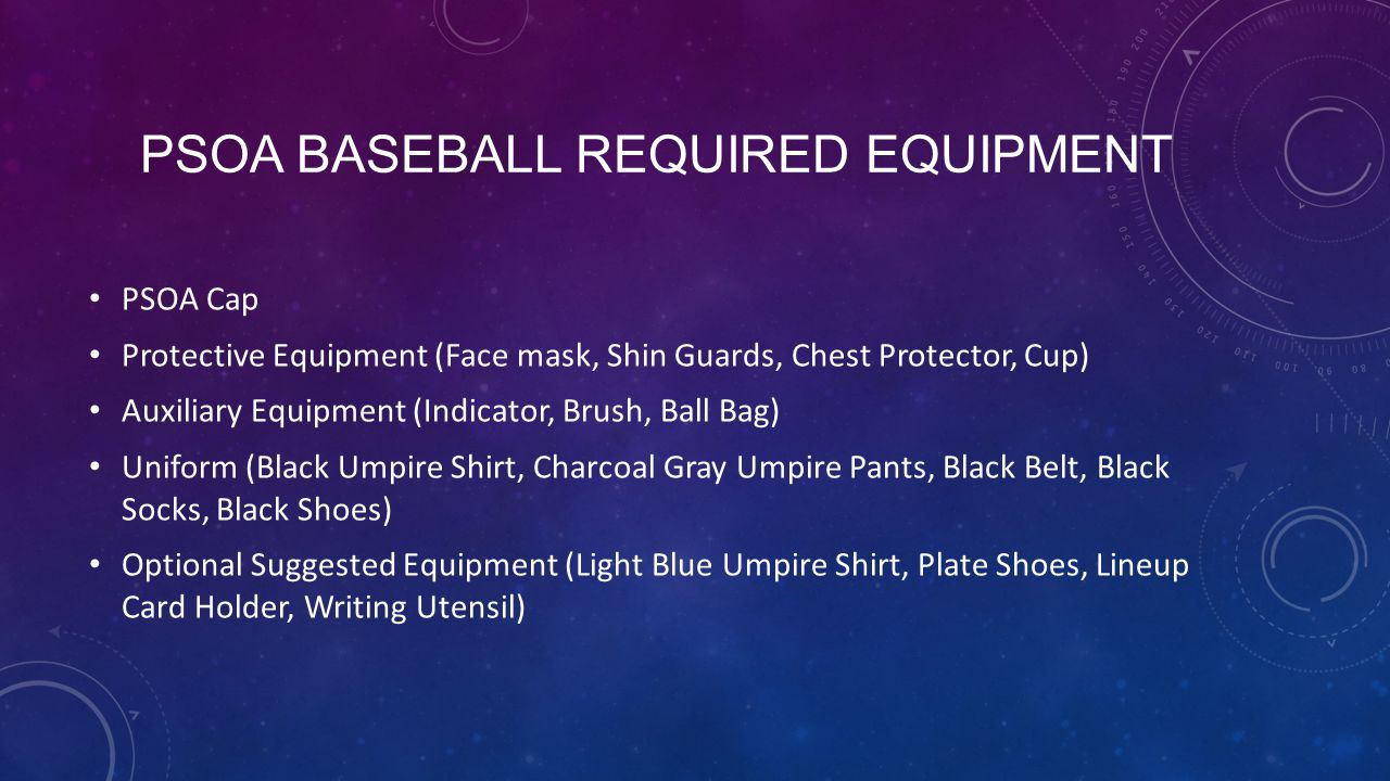 PSOA Baseball Required Equipment