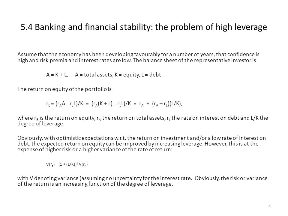 5.4 Banking and financial stability: the problem of high leverage