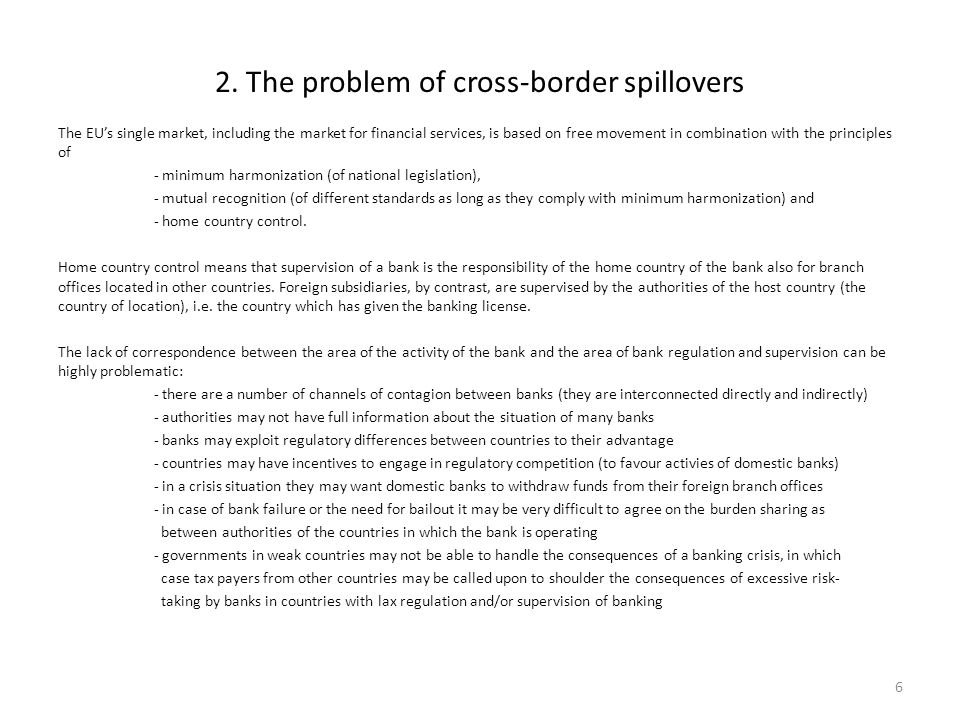 2. The problem of cross-border spillovers