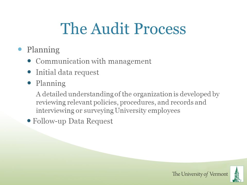 The Audit Process Planning Communication with management
