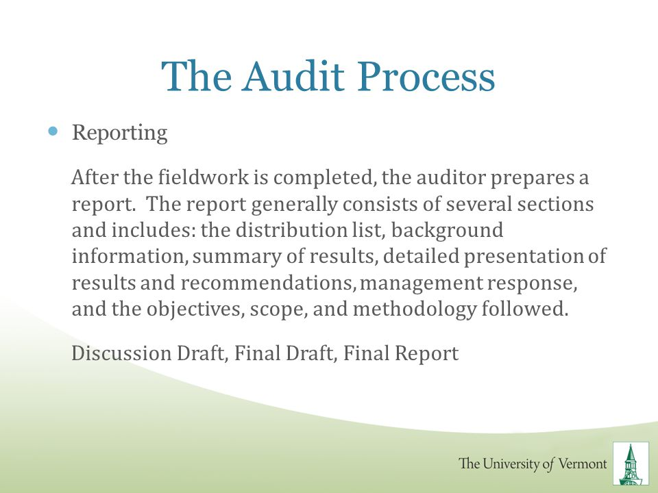 The Audit Process Reporting