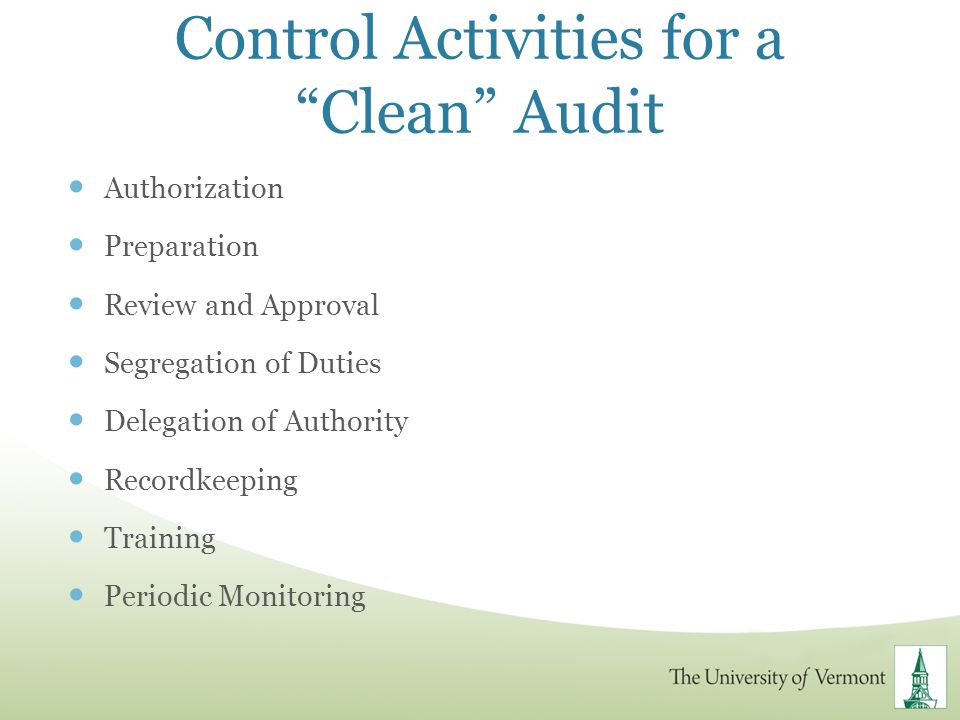 Control Activities for a Clean Audit