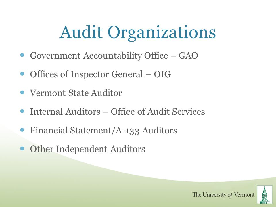 Audit Organizations Government Accountability Office – GAO